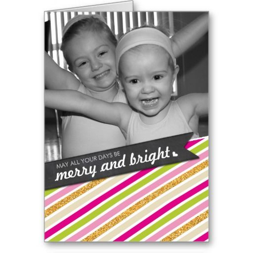 PHOTO HOLIDAY GREETING CARD colorful stripe merry and bright... Have yourself a trendy little christmas this year with these DIY templates available for purchase