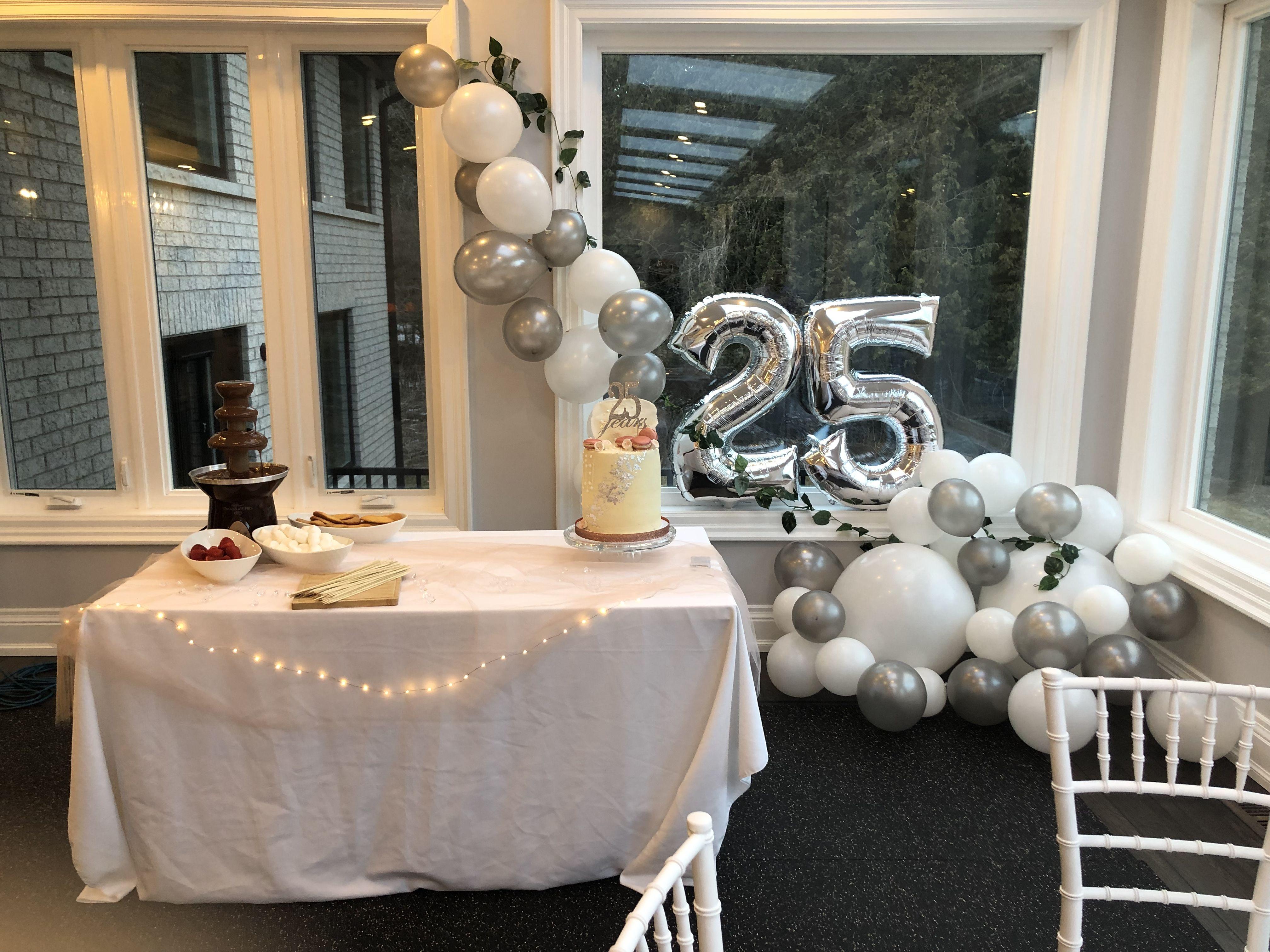 25th anniversary cake & decor | 25th anniversary party, 25 ...
