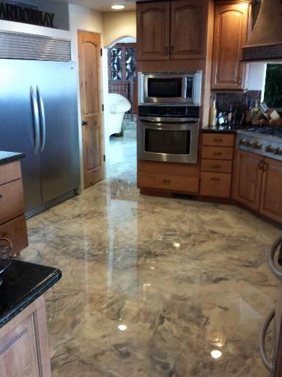Epoxy Kitchen Floor Residential in 2020   Concrete decor ...