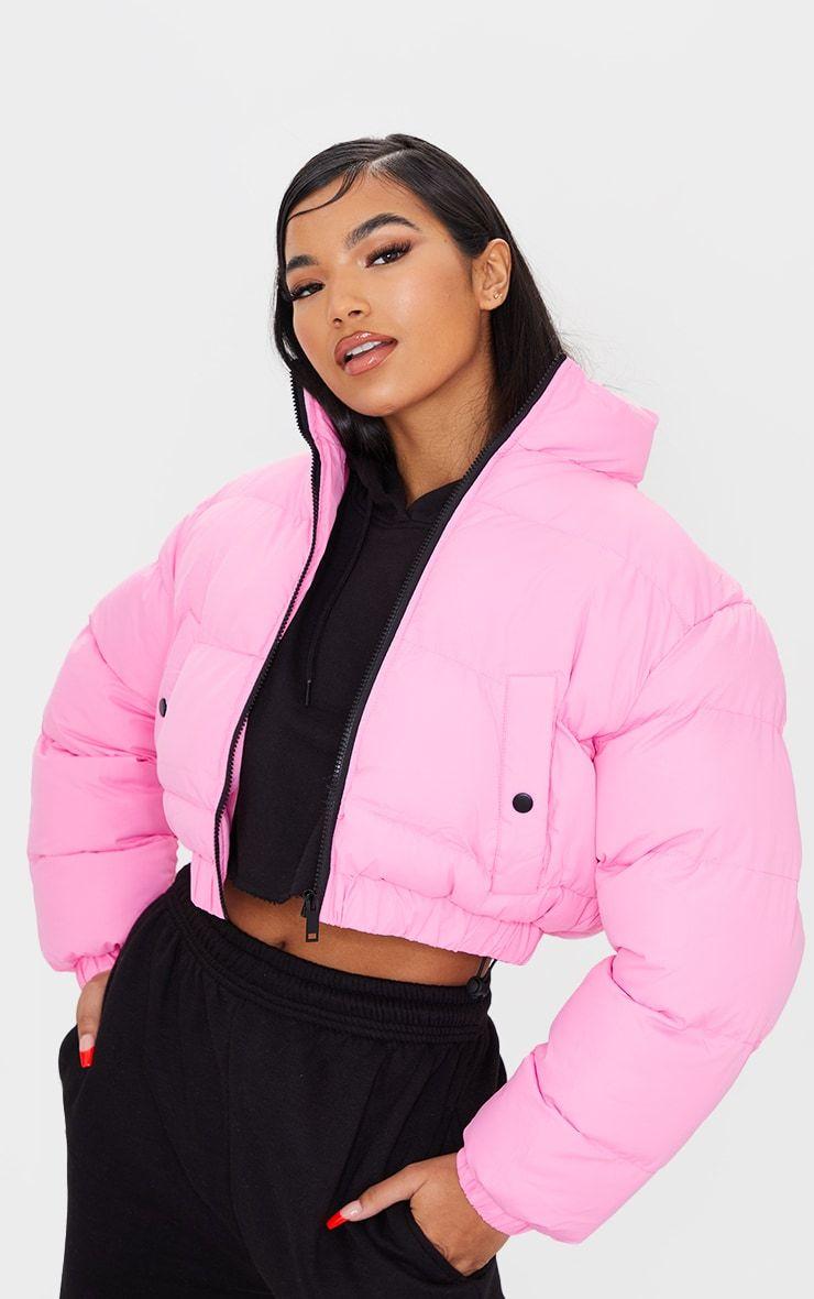 Pink Cropped Bubble Zip Detail Puffer Jacket Puffer Jacket Outfit Puffer Jackets Pink Puffer Jacket [ 1180 x 740 Pixel ]