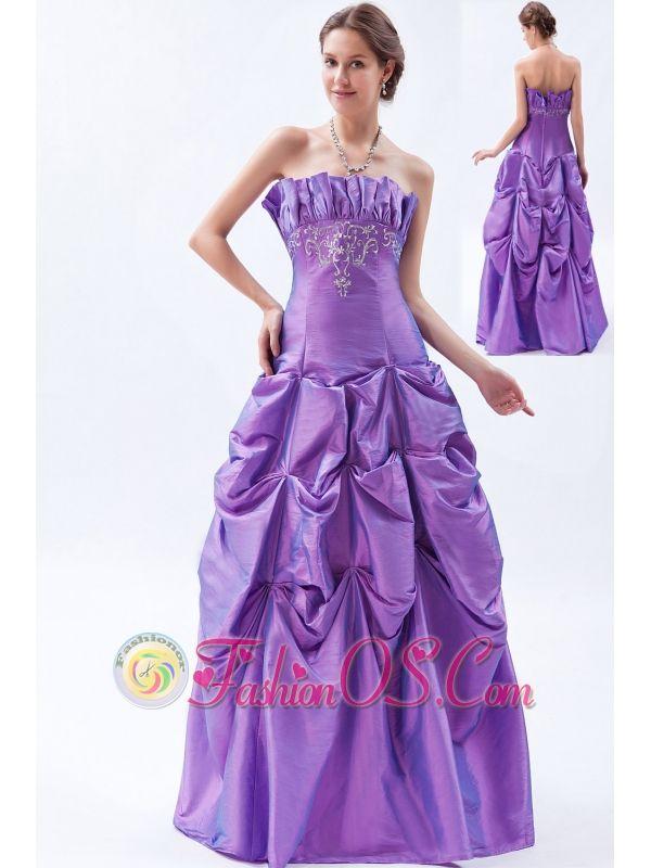 Purple A-line / Princess Strapless Prom Dress Taffeta Embroidery ...
