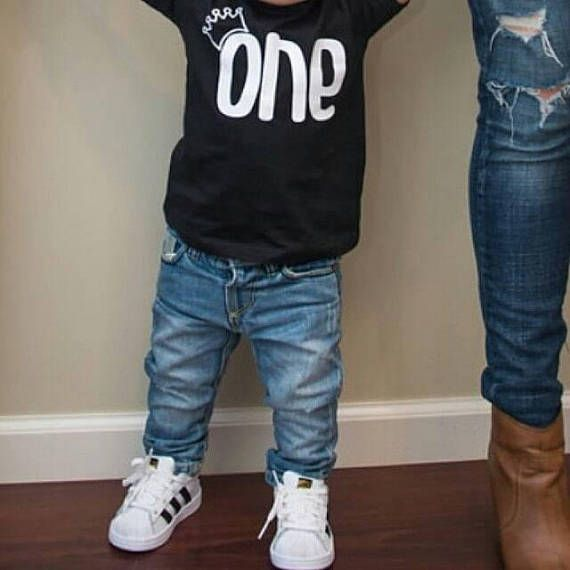 1st Birthday Boy First Shirt One Year Old Outfit CLiv CoTM Our ONE With A Crown Boys