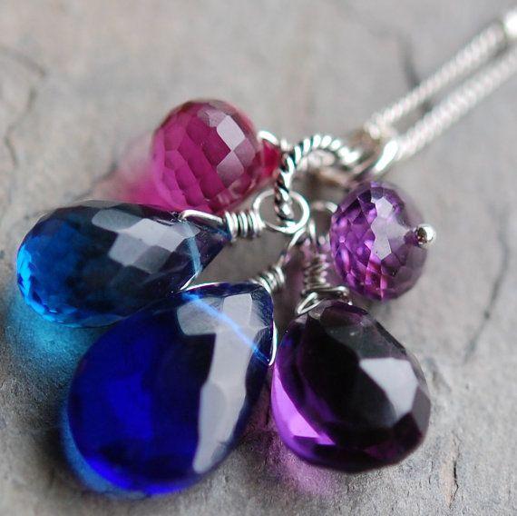 Sapphire Blue Necklace Quartz Amethyst Fuchsia by hamptonjewels