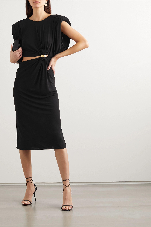 Black Embellished Cutout Ruched Jersey Midi Dress Versace Net A Porter Midi Dress Versace Dress Dresses [ 3001 x 2000 Pixel ]