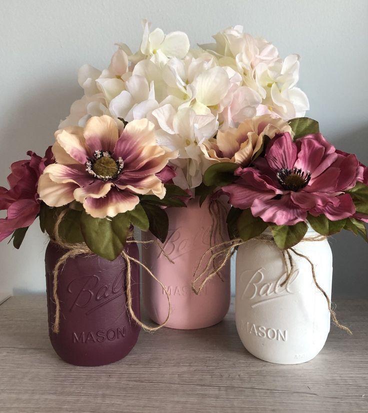 Rustic Bridal Shower Centerpieces, Dusty Rose, Burgundy Decor, Boho Party Decor, Farmhouse Wedding Vases
