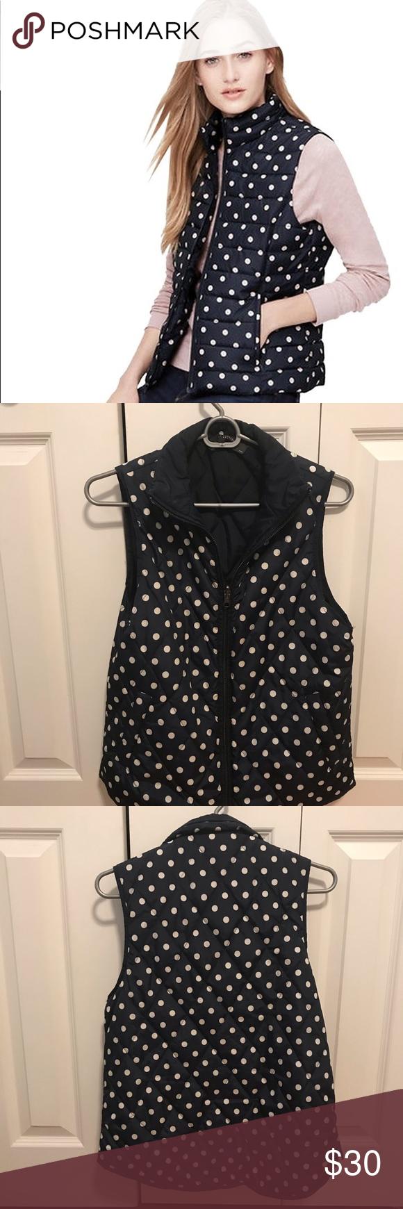 Loft Navy Polka Dot Vest Cute lightweight vest, size small.  Only worn a handful of times— great condition. LOFT Jackets & Coats Vests #myposhpicks