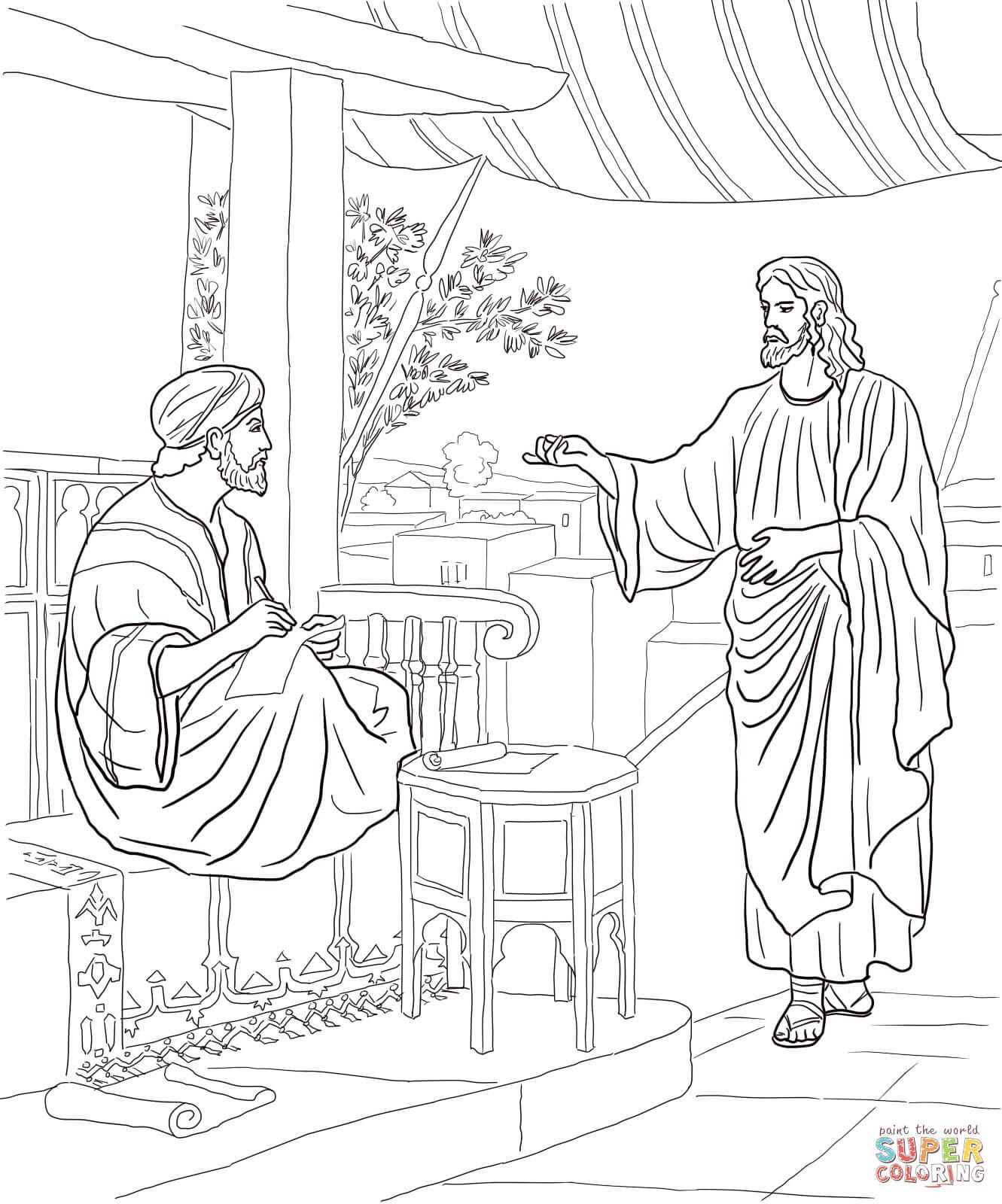 Jesus Calls Matthew Coloring Page Free Printable Coloring Pages