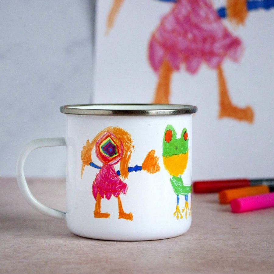 enamel mug - child's drawing