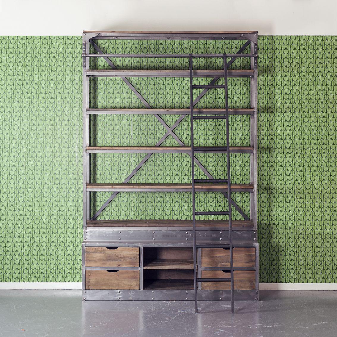Boekenkast Deb Industriële Kast Met Ladder Home Decoration