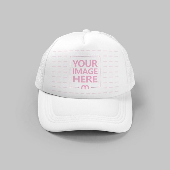 A Realistic Mockup Template Of A Plain White Cap Hat Lying On A Studio Background Scene Upload Your Own Logo For An Instant A Clothing Mockup Mockup Caps Hats