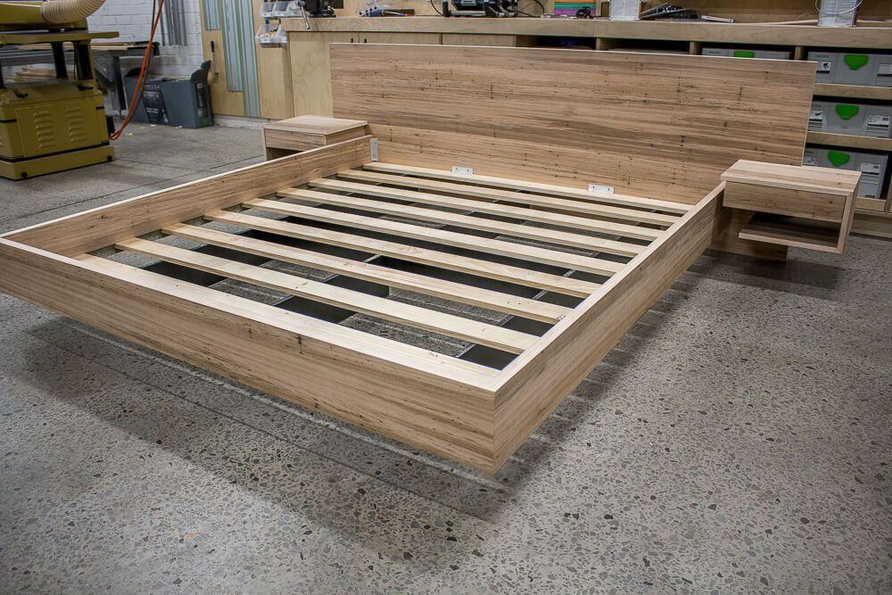Blackbutt Floating Bed Custom Made Furniture Pedulla Studio Floating Bed Floating Bed Diy Bed Frame Plans