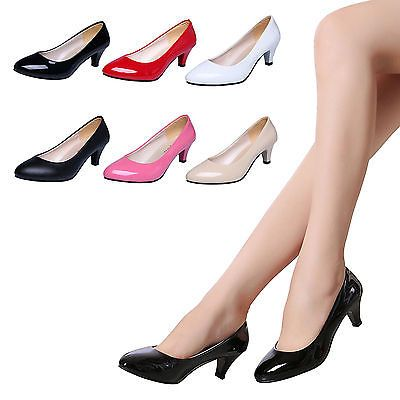 567bc9e49741 WOMENS LADIES LOW MID HIGH HEEL POINTED TOE PUMPS SMART WORK COURT SHOES  SIZE
