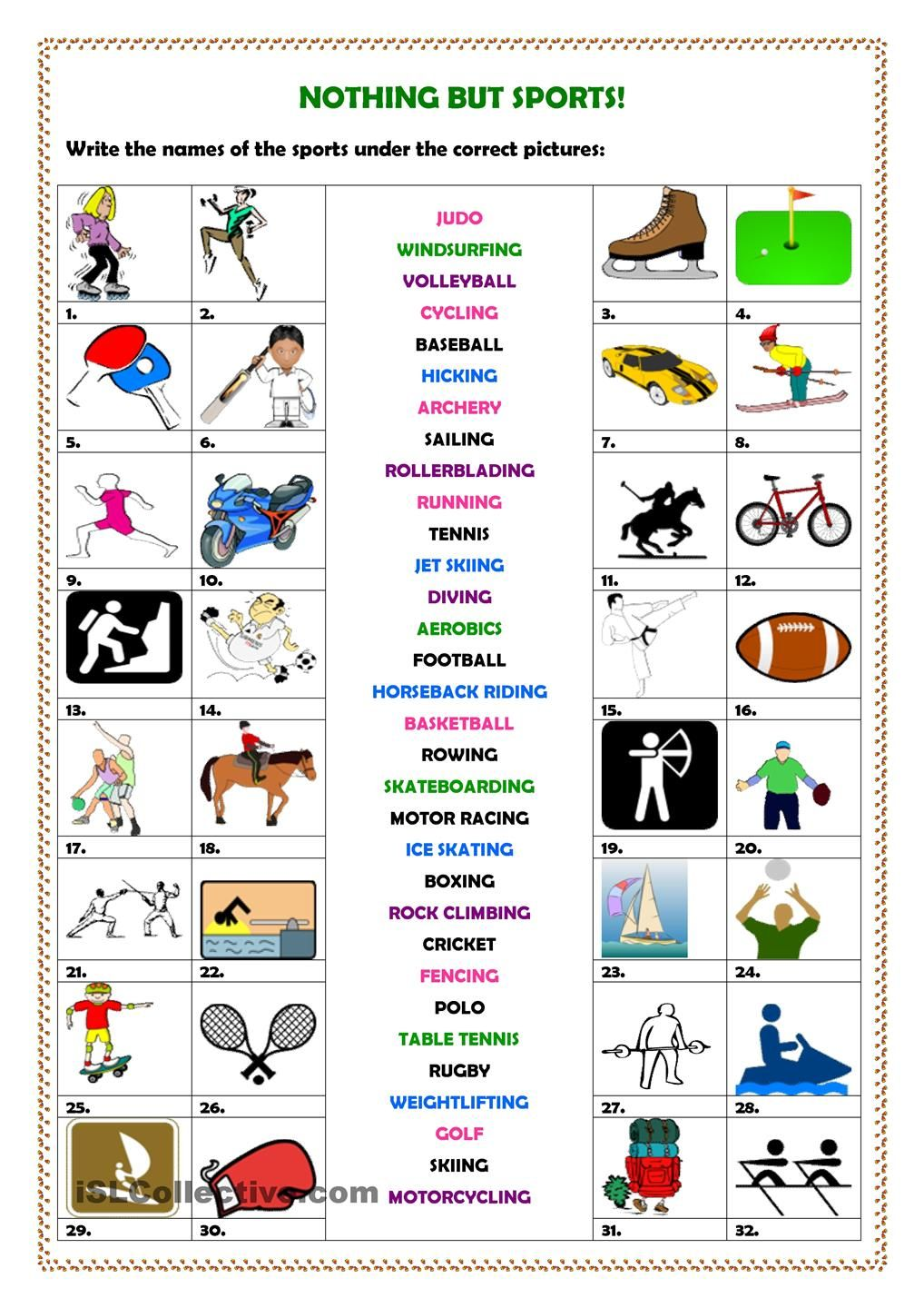 Nothing But Sports Aprender Ingles Idioma Ingles Actividades