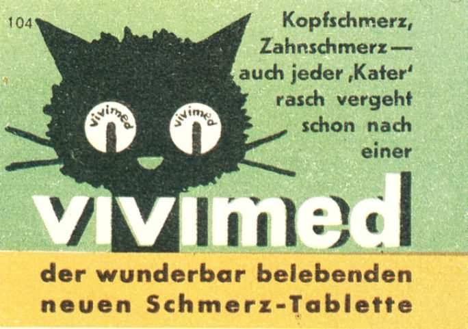 Vintage German ad for analgesic pills
