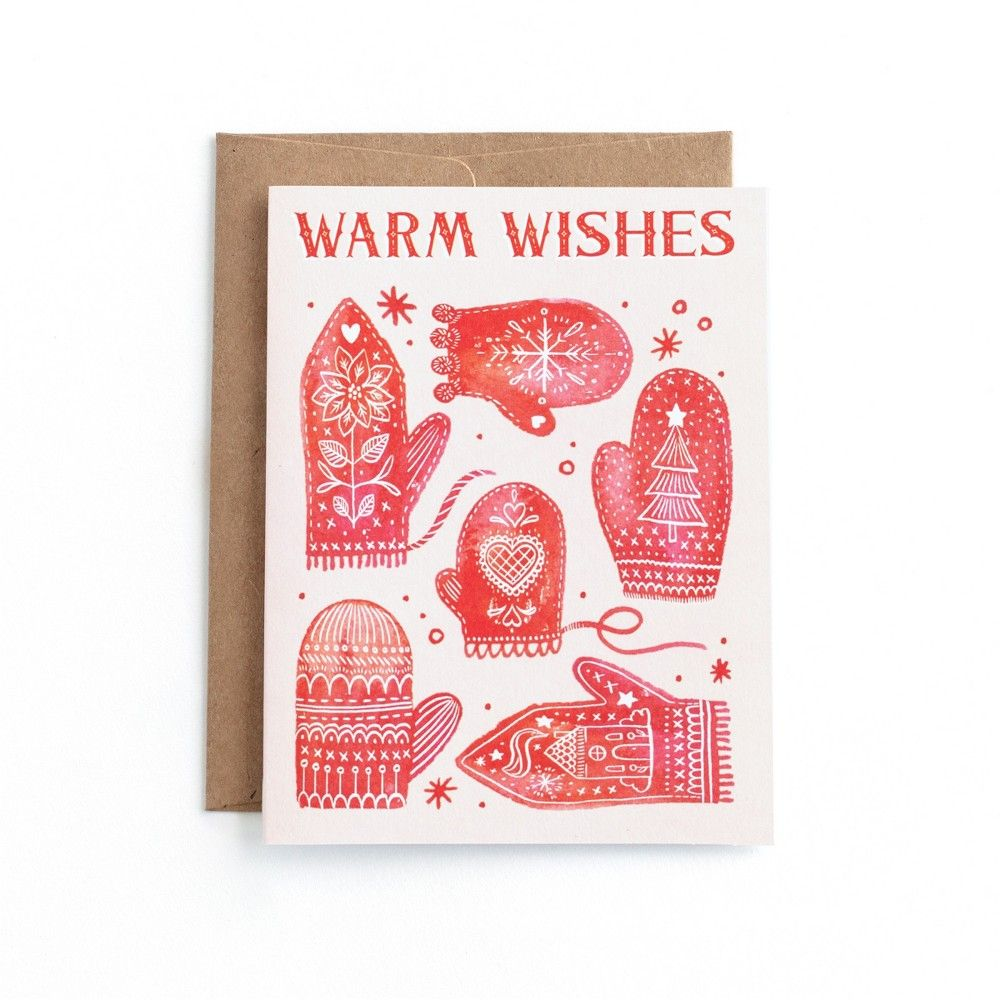 20ct Minted Warm Wishes Mittens Holiday Boxed Cards, Multi