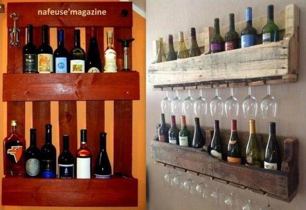 Id e d co utilisez une palette pour ranger vos verres et vos bouteilles - Faire des etageres dans un garage ...