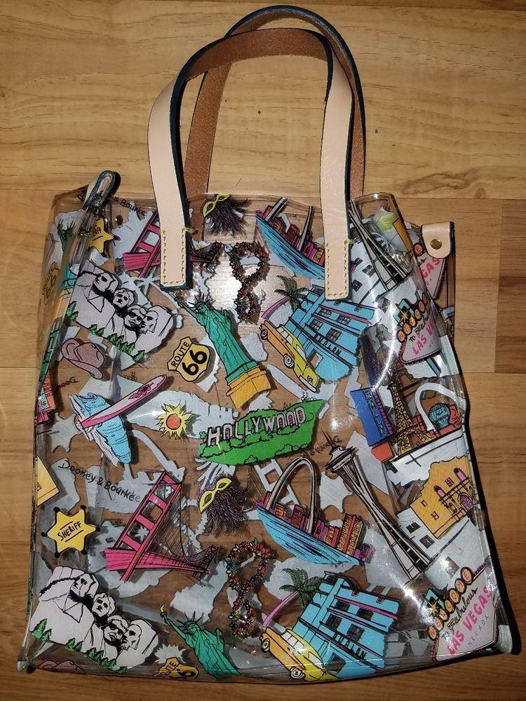Dooney Bourke Clear Usa Tourist Lunch Bag Hollywood Las Vegas Route 66 Clothing