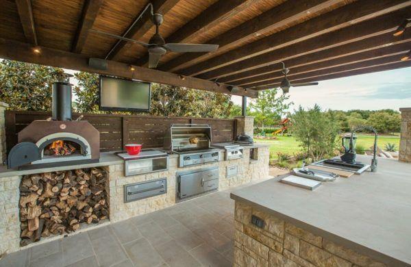 Outdoor Küche Holzofen : 37 ideen für outdoor küche für angenehmes abendessen im freien