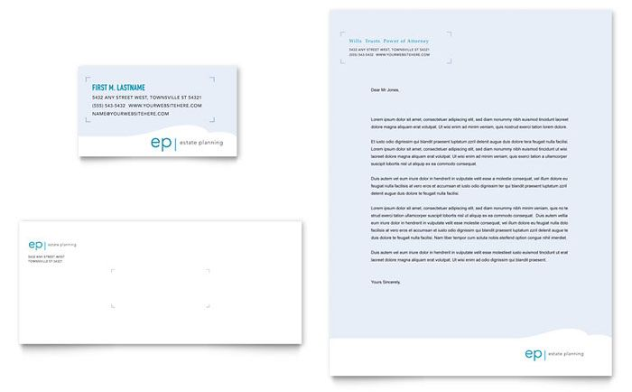 Estate Planning Business Card Amp Letterhead Template Design For Mac
