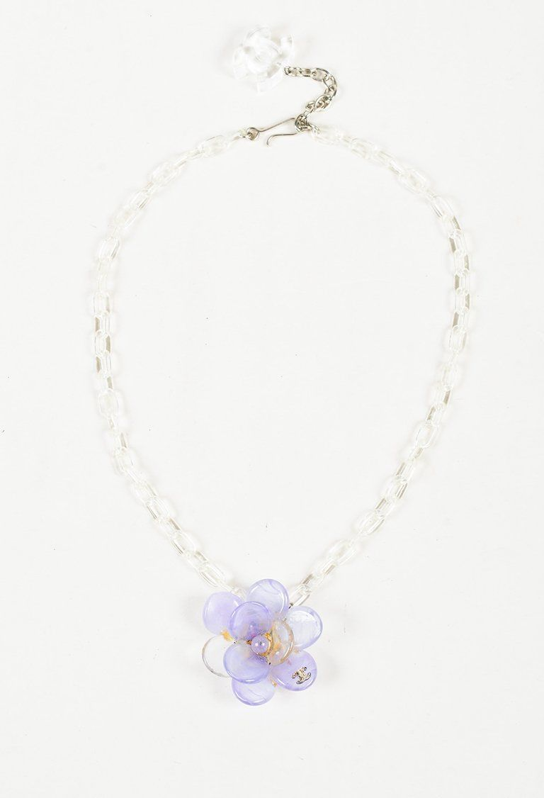 Chanel Spring 2001 Purple Clear Acrylic Camellia Flower Pendant Necklace Flower Pendant Necklace Pendant Necklace Necklace
