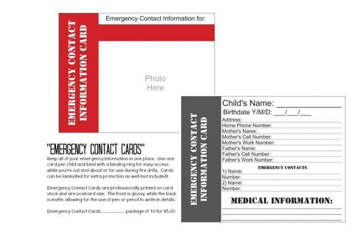 daycare emergency cards google search