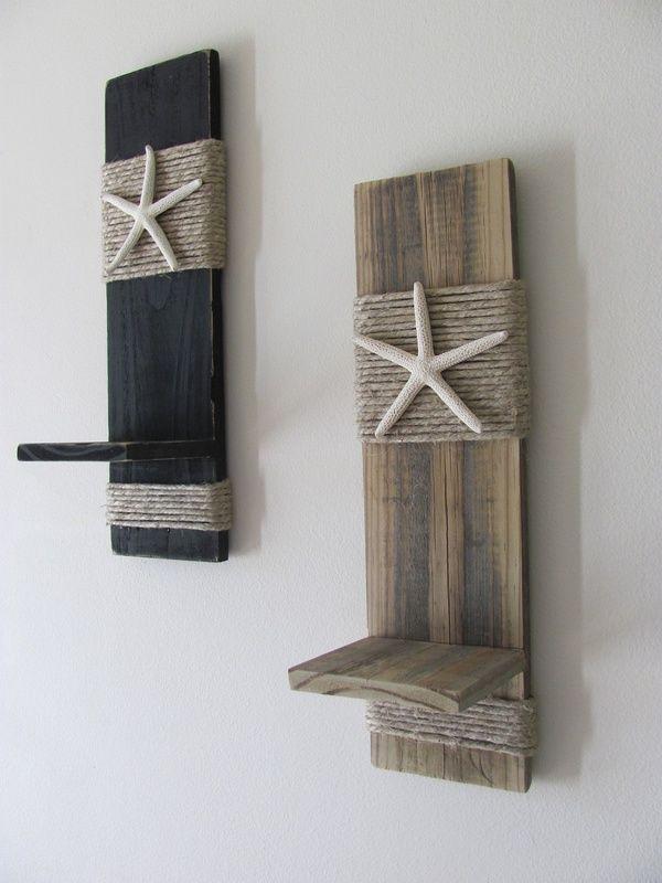 Reclaimed Upcycled Wood Plank Starfish Sconces - Wall Decor - Black - Beach Cottage - Home Decor - Nautical. $38.00, via Etsy.