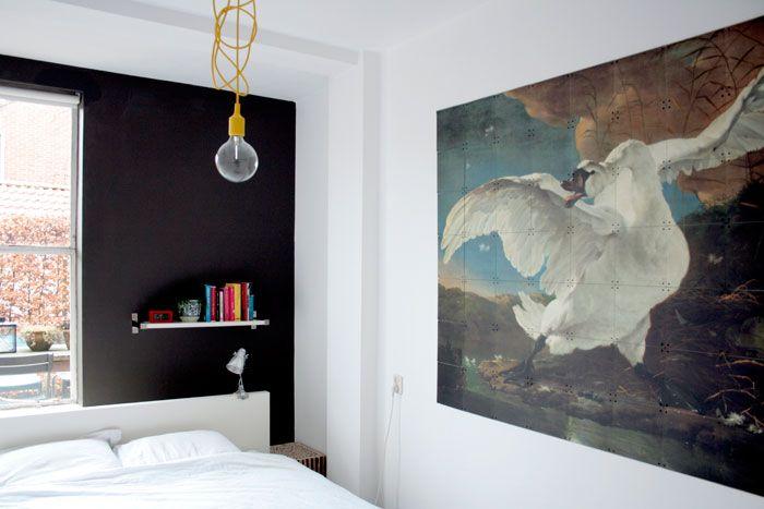 Bright Industrial Light Fixture Dark Accent Wall Behind Bed Netherlands With Roel Vaessen From Ixxi Via Bloesem Interior Design Art Dark Accent Walls Design