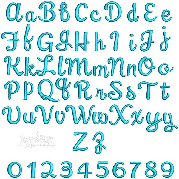 """3D Puff Panama Script Embroidery Fonts. Sizes 1"""" , 1.5"""