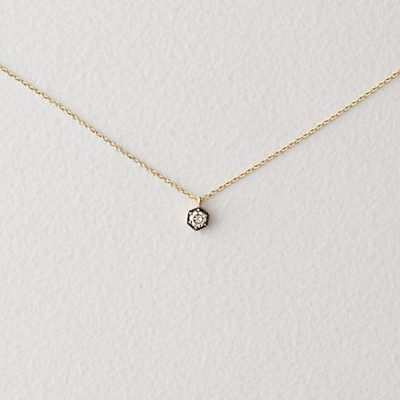 "HEXAGON DIAMOND NECKLACE by SATOMI KAWAKITA. Delicate 16"" chain necklace made of 18k yellow gold, detailed with a small 3.4mm brown diamond pendant in a hexagon shaped setting"