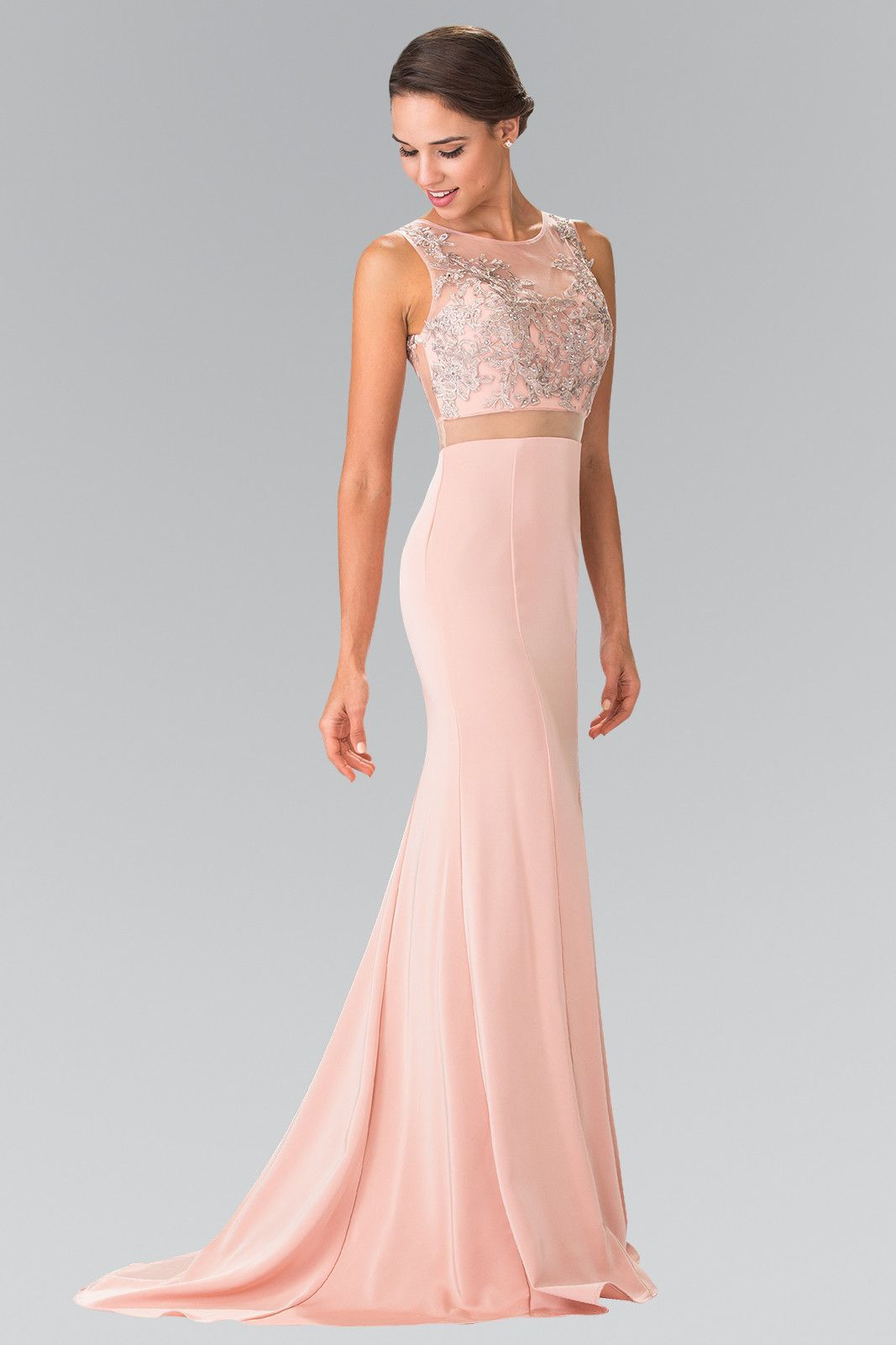 dfe4e8ac97c Mock Two-Piece Dress with Embroidered Illusion Top by Elizabeth K GL2247