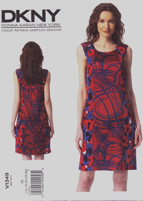 DKNY Womens Princess Seamed Shift Dress OOP Vogue Sewing Pattern ...