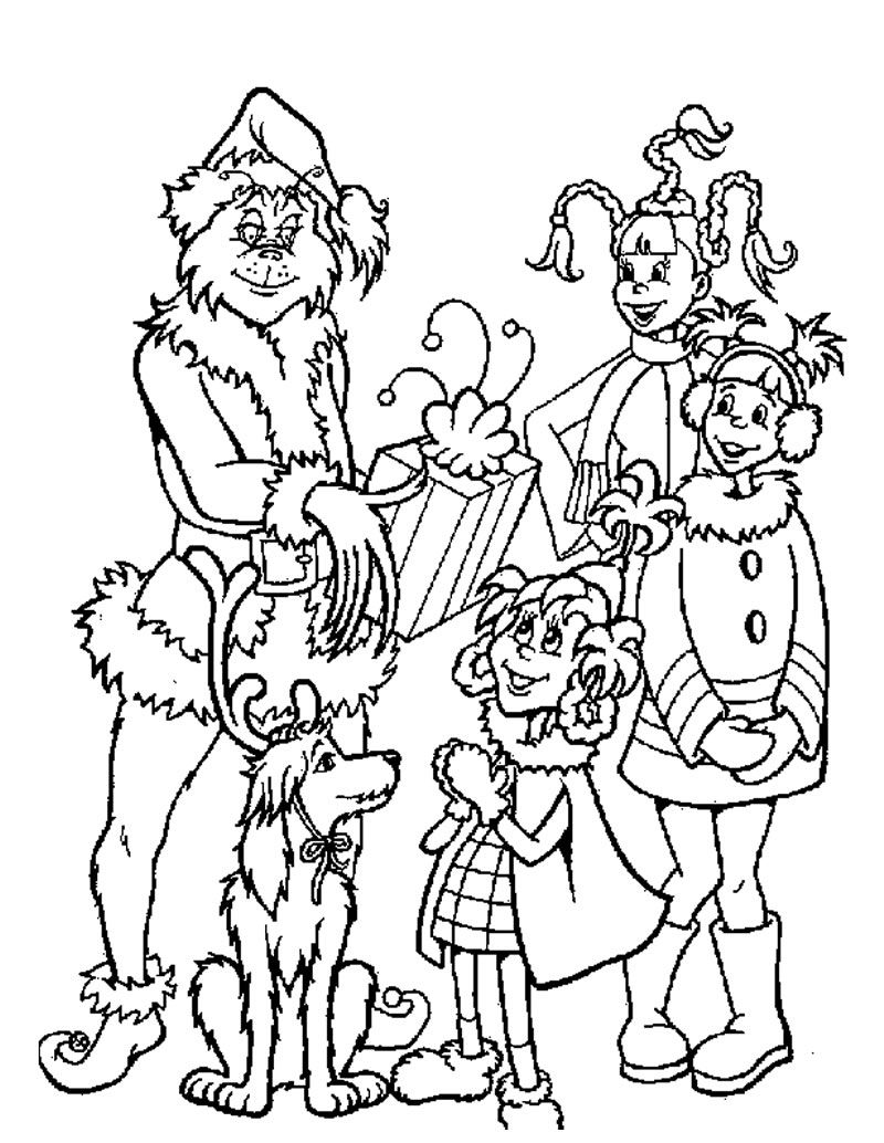 Free Printable Grinch Coloring Pages For Kids   Christmas gift ...