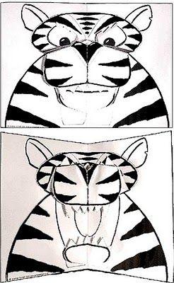Diy Animal Make Tiger Pop Up Card Free Pattern Pepakura Corner Pop Up Pop Up Book Kids Cards