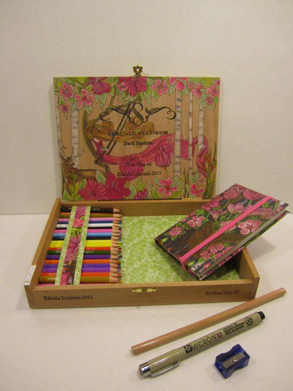 Fuchsia Art Box    drawing journaling art kit  by CapricornsArtBox