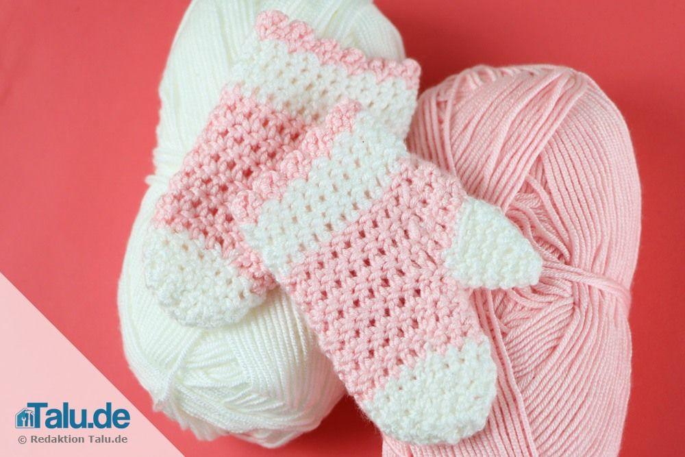 Babyhandschuhe häkeln – kostenlose Anleitung für Fäustlinge ...