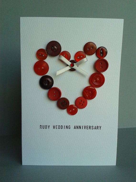 Ahnliche Artikel Wie Ruby 40 Hochzeitstag Button Herz Karte