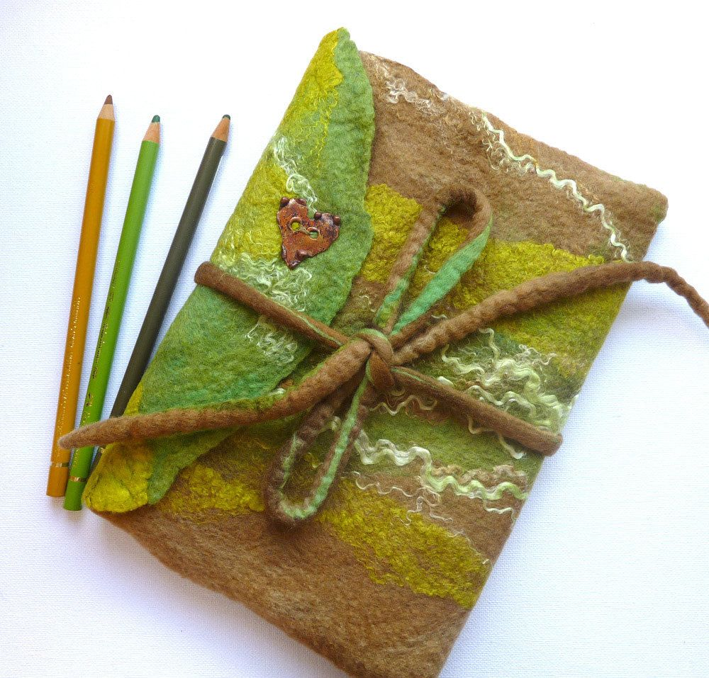 Hand Made Felt Notebook Cover. Diary Cover in Forest Green. $32.00, via Etsy.