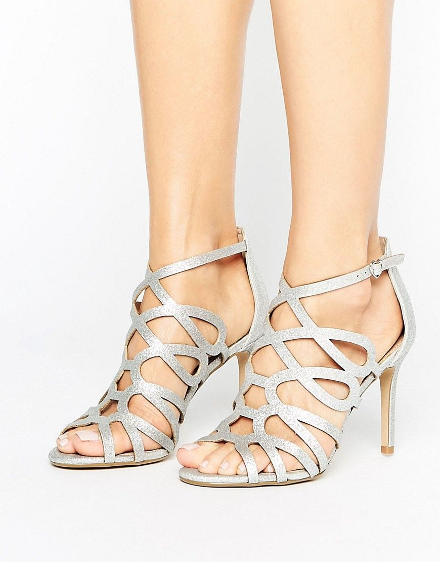8113fda663d Head Over Heels By Dune Mae Silver Caged Heel Sandals - Silver