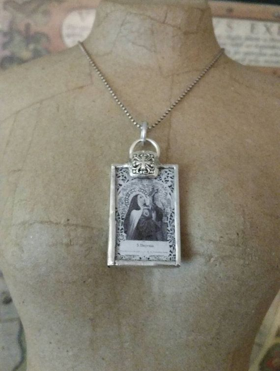 St therese soldered pendant with cross by kayvajewel on Etsy