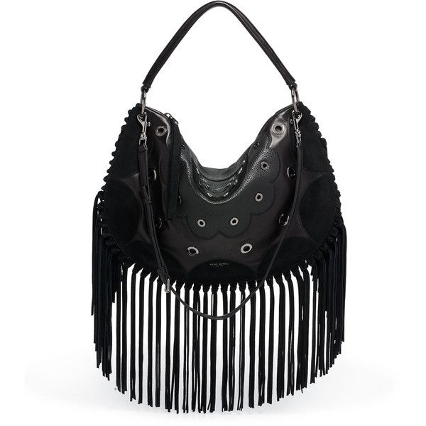Henri Bendel Premium Dylan Fringed Hobo ($29) ❤ liked on Polyvore featuring bags and black