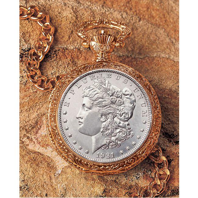 1921 Morgan Silver Dollar Goldtone Coin Pocket Watch Coin