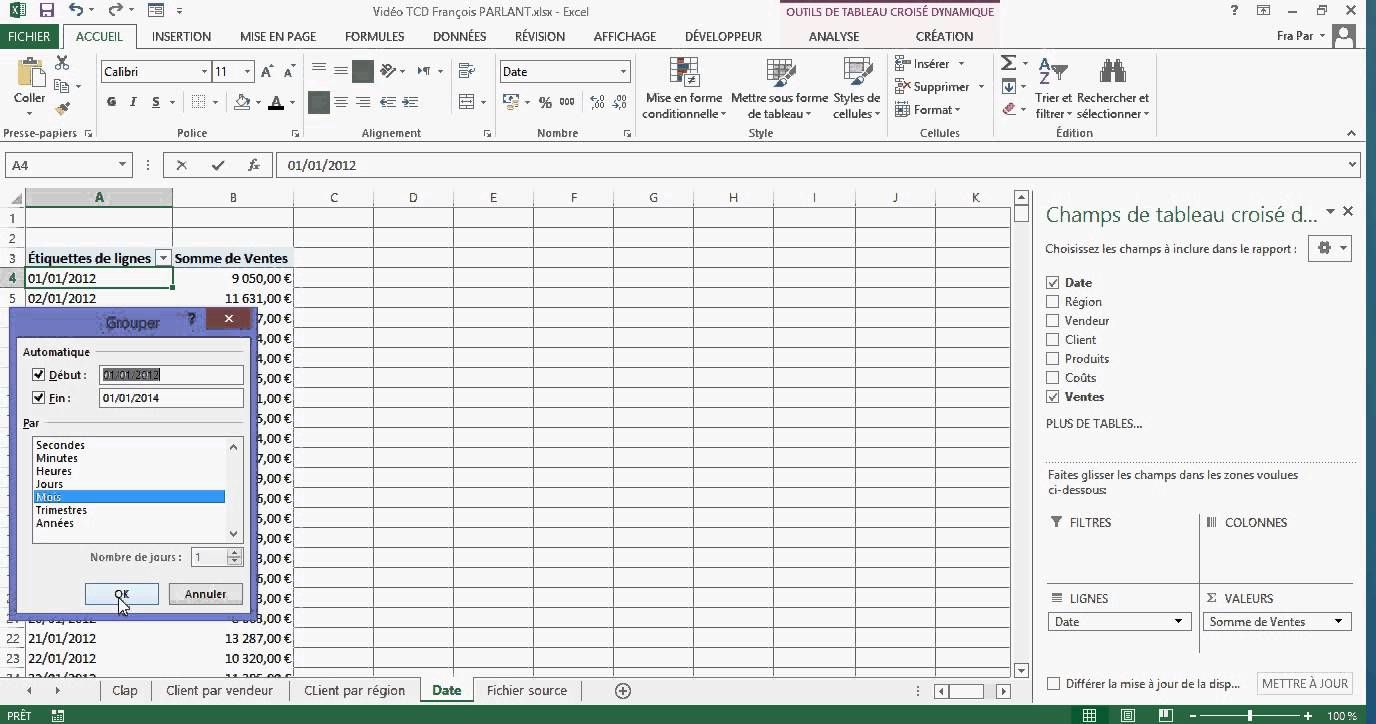 Excel : les tableaux croisés dynamiques en 14 minutes 30 secondes   Tableau croisé dynamique ...