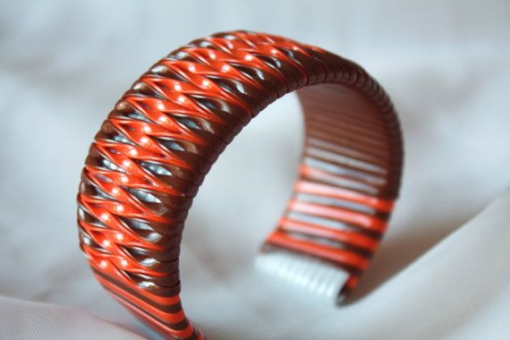 Brown and Orange Twist Cuff Bracelet by AmandaBess on Etsy