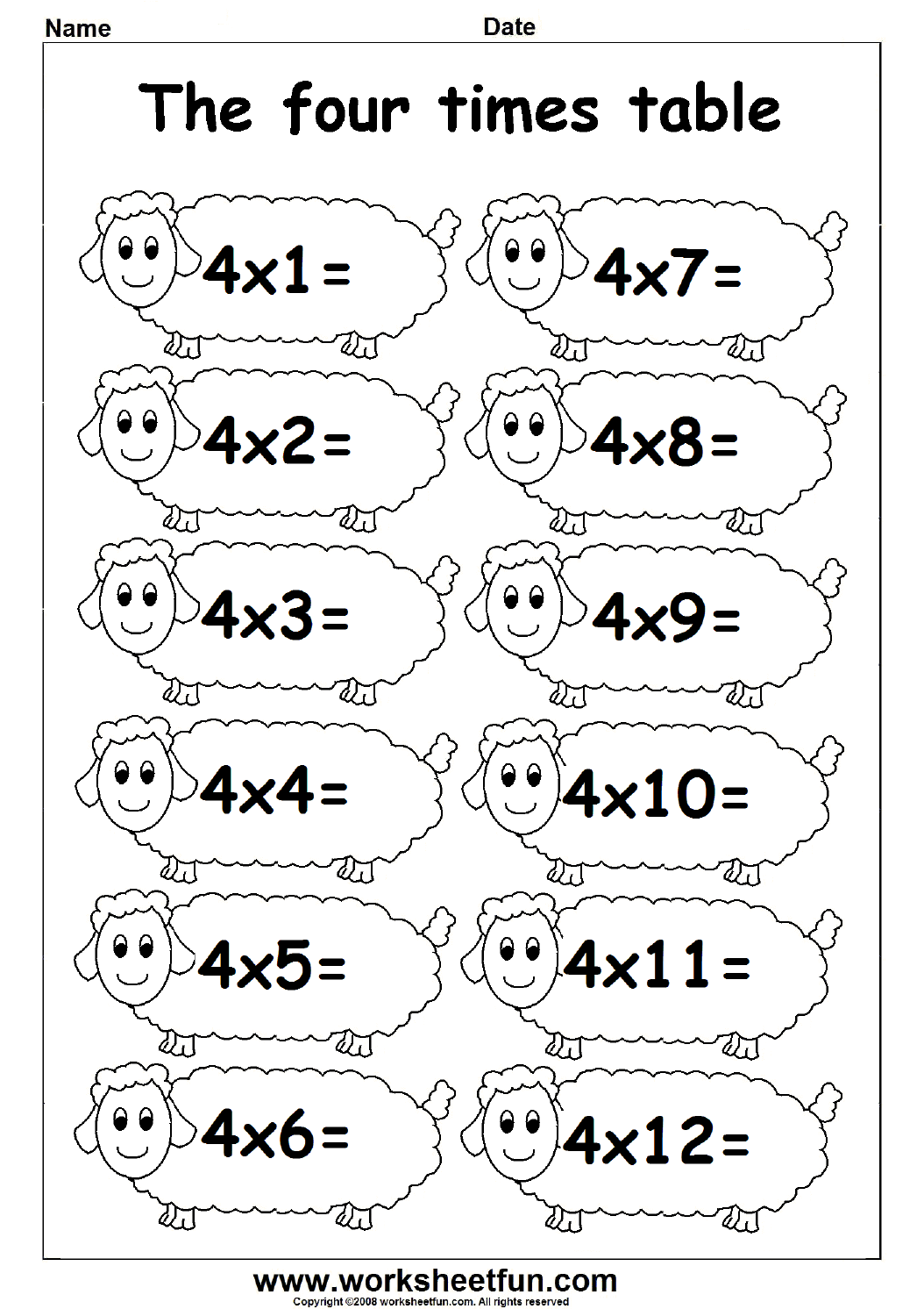 Fun Times Table Worksheets 2 3 4 – Multiplication Facts Test Worksheet