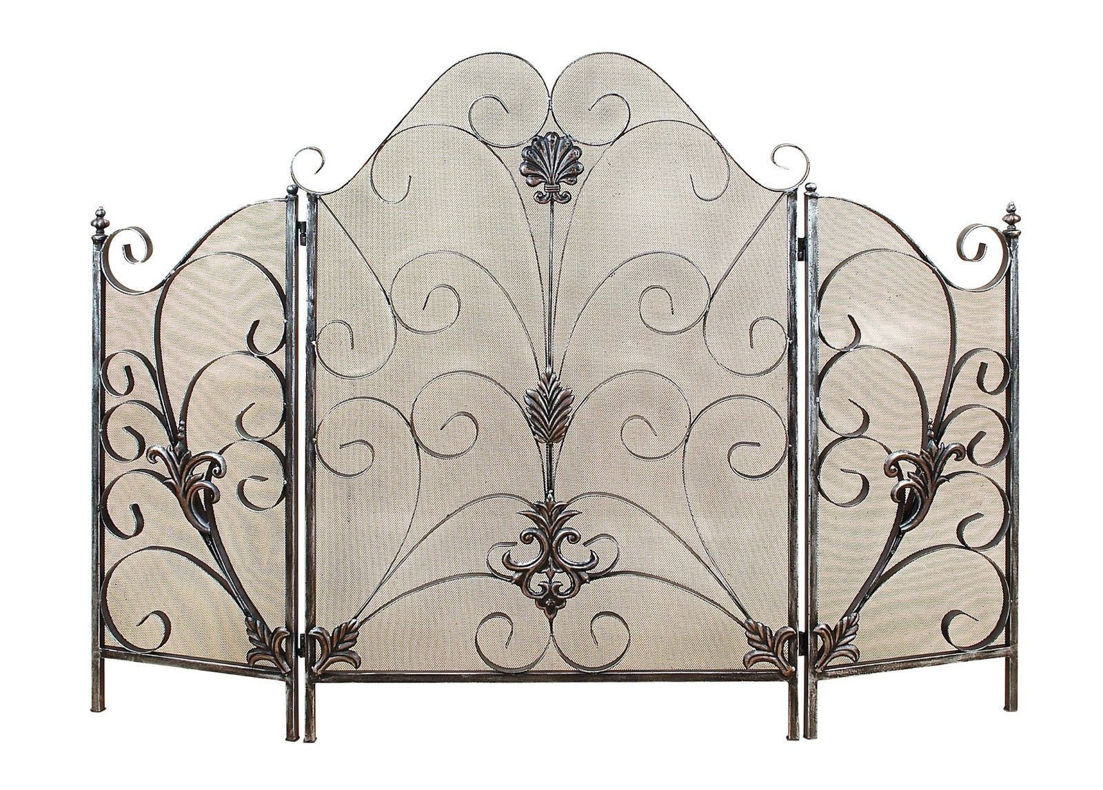 Elegant French Country Metal Scrollwork Fireplace Screen Home