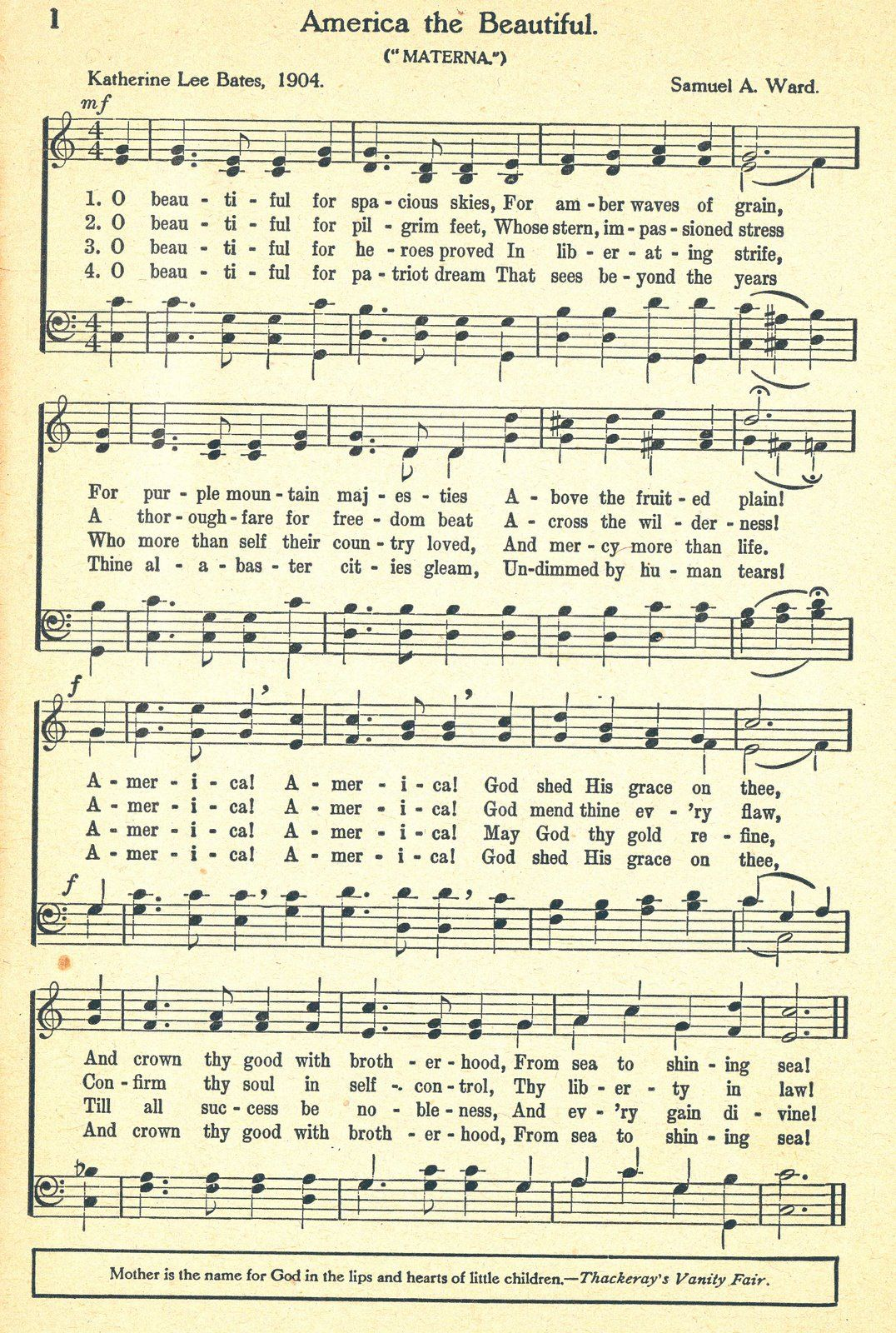 America The Beautiful Sheet Music To Use For Scrapbooking Etc