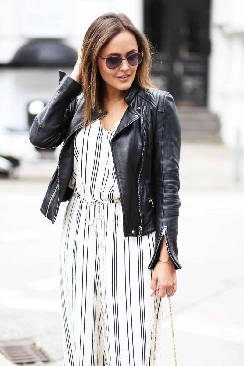 LEATHERJACKET AND JUMPSUITS FOR SUMMER More on: http://designdschungel.blogwalk.de/leatherjacket-and-jumpsuit-for-summer.html #vogueeyewear #streetstyle #designdschungel