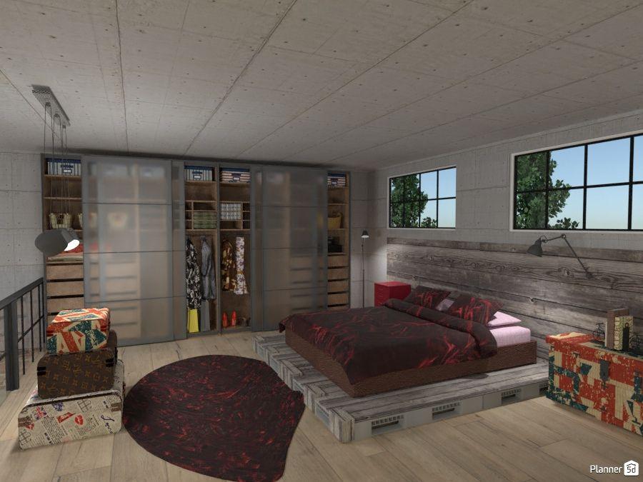 Industric bedroom interior, PLANNER 5D   B e d r o o m s ...