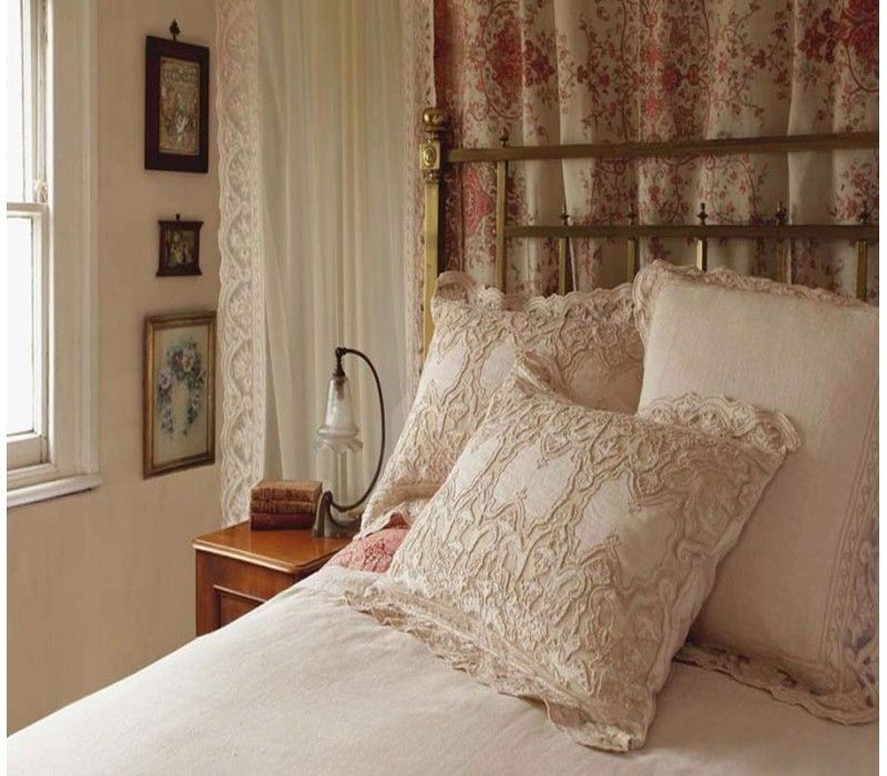 """Henley Lace Large Cushion cover  Lace voile panels available to match.  Size: W67xL67cm / W26 ½""""xL26 ½""""  Base Fabric: Clay Linen Blend (45% Linen 55% Cotton)  Applique: Latte Net (100% Nylon)  With Cord Work"""