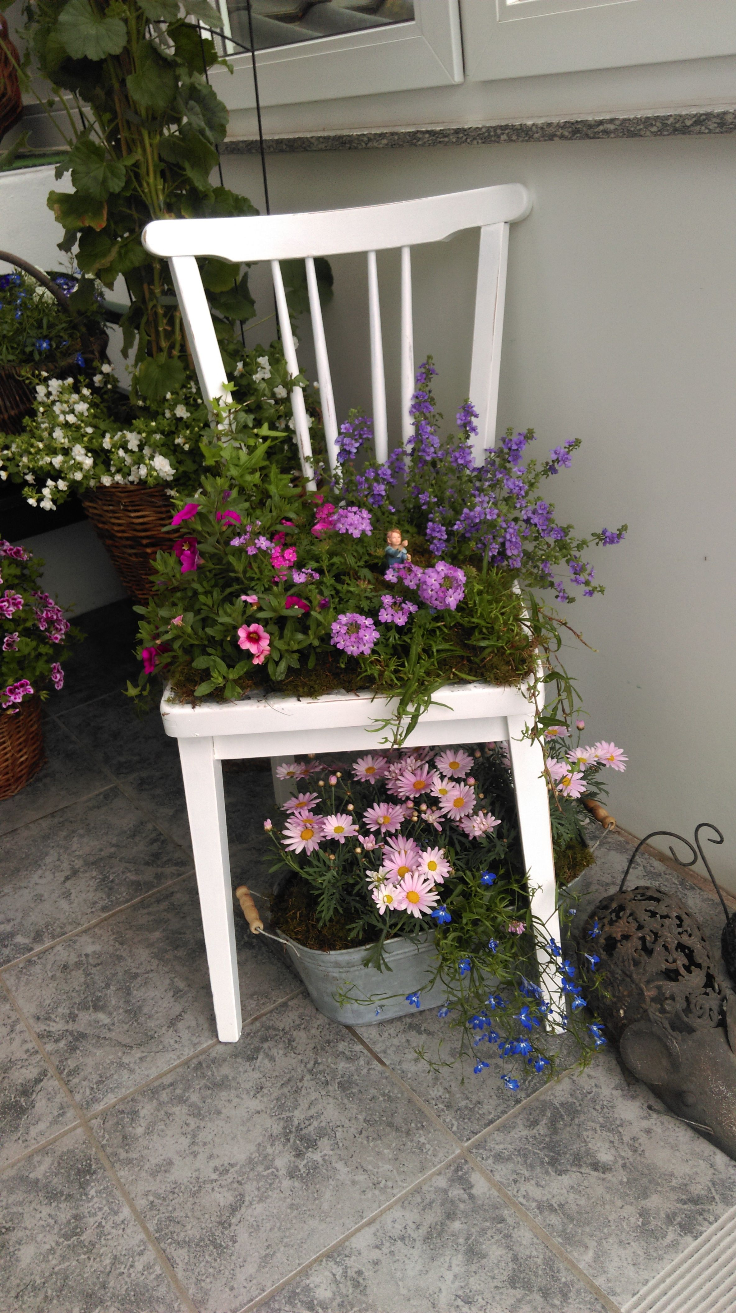 Stuhl Sommerlich Bepflanzt Gartenprojekte Pflanzen Gartendekoration